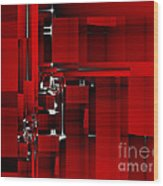 Red Construction I Wood Print