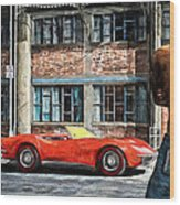 Red Corvette Wood Print by Bob Orsillo