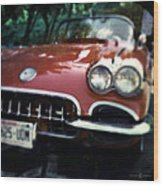 Red Corvette With Trees Wood Print