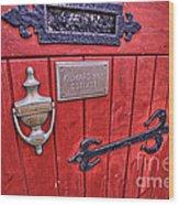 Red Cottage Door Wood Print