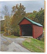 Red Covered Bridge Wood Print