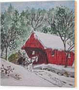 Red Covered Bridge Christmas Wood Print