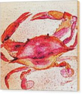 Red Crab  Wood Print