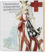 Red Cross World War 1 Poster  1918 Wood Print by Daniel Hagerman