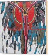 Red Crucifixion Wood Print