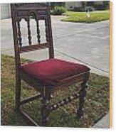 Red Cushion Chair Wood Print