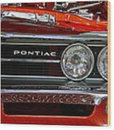Red Customized Retro Pontiac-front Left Wood Print