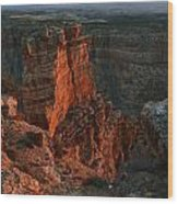 Red Dawn Breaking On Spires In Grand Canyon National Park Vertical Wood Print