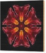 Red Daylily II Flower Mandala Wood Print