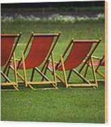 Red Deck Chairs On The Green Lawn Wood Print