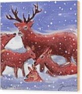 Red Deer Family Wood Print