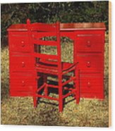 Red Desk And Chair Wood Print