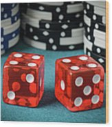 Red Dice And Playing Chips Wood Print