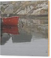 Red Dinghy  Wood Print