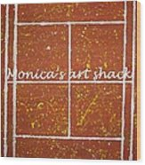 Red Dirt Of A Tennis Court Wood Print by Monica Art-Shack