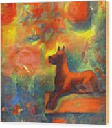 Red Dog In The Garden 2 Wood Print by Nato  Gomes