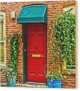 Red Door 2 Wood Print by Baywest Imaging