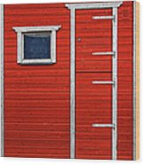 Red Door And Window With White Frames - Wood Print