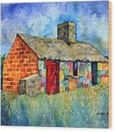 Red Door Cottage Wood Print