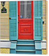 Red Door In New Orleans Wood Print