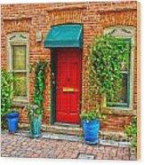 Red Door Wood Print by Baywest Imaging
