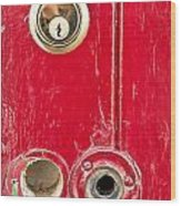 Red Door Lock Wood Print by Tom Gowanlock