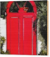Red Door Wood Print