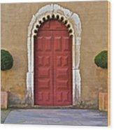 Red Door Of Caldas De Rainha Wood Print