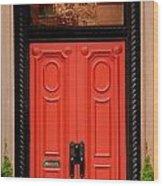 Red Door On New York City Brownstone Wood Print