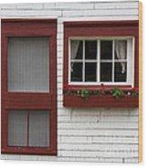 Red Door Red Window Wood Print