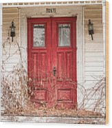 Red Doors - Charming Old Doors On The Abandoned House Wood Print by Gary Heller