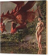 Red Dragon And Nude Bather Wood Print