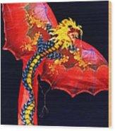 Red Dragon Kite Wood Print