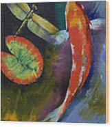 Red Dragon Koi Wood Print by Michael Creese