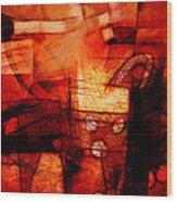 Red Drama Wood Print