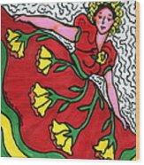 Red Dress With Yellow Roses Wood Print