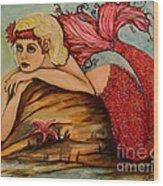 Red Dust Mermaid Wood Print