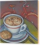 Red Dutch Bicycle With Cappuccino And Amaretti Wood Print