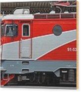 Red Electric Train Locomotive Bucharest Romania Wood Print