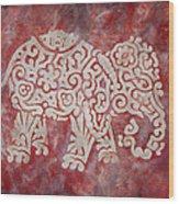 Red Elephant Wood Print