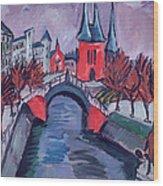 Red Elisabeth Riverbank Berlin Wood Print