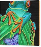 Red-eyed Tree Frog And Butterfly Wood Print
