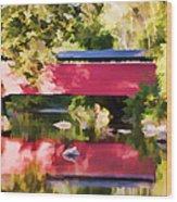 Red Fairhill Covered Bridge Wood Print