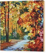 Red Fall Wood Print