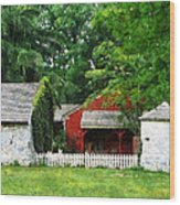 Red Farm Shed Wood Print