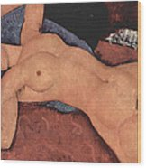 Red Female Nude Painting Wood Print by Amedeo Modigliani