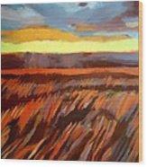 Red Field Wood Print