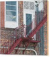 Red Fire Escape Usa II Wood Print