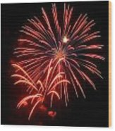 Red Fireworks Wood Print