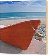Red Fishing Boat Algarve Portugal Wood Print